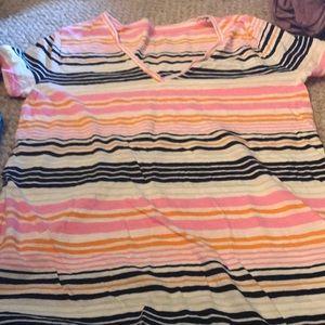 Striped V neck t shirt